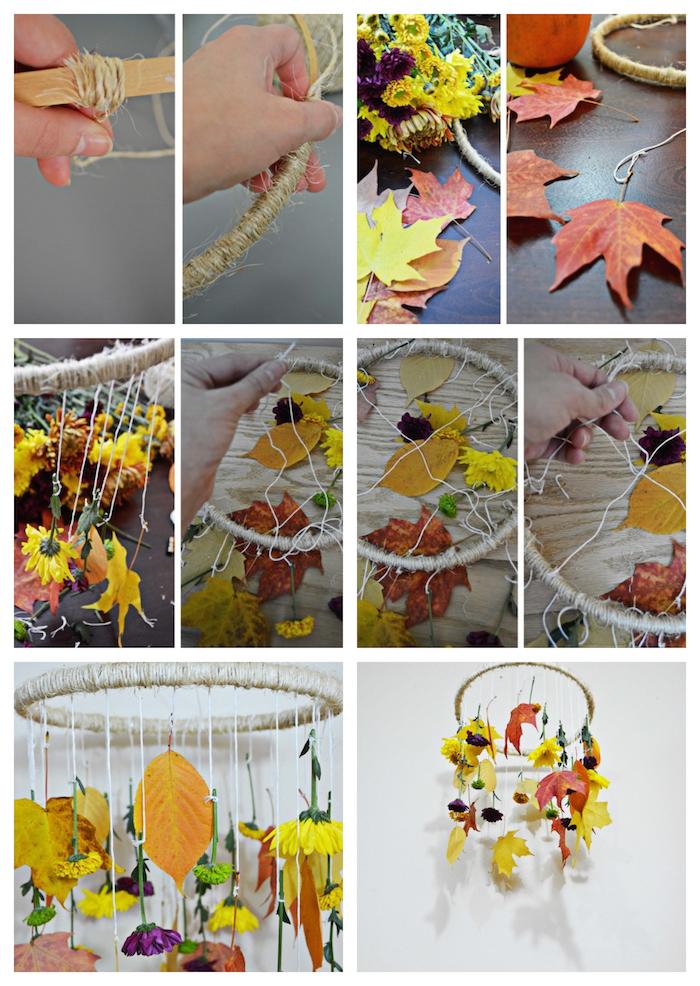 quelle idée d activité manuelle automne, suspension en cerceau avec des feuilles mortes et fleurs suspendus sur fils
