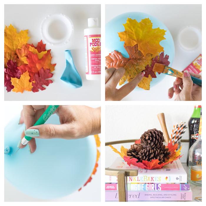 idées d activités manuelles automne, corbeille en feuille mortes artificielles rouges, jaunes oranges, ballon et vernis colle