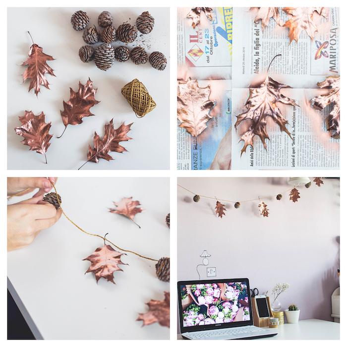 idée d activité manuelle automne, guirlande de feuilles repeintes en peinture couleur cuivre et pommes de pin