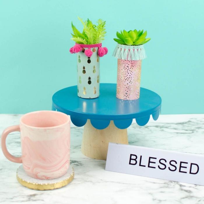 des mini-pots pour plantes grasses en rouleaux de papier toilette décorés avec des pompons, franges et papier scrapbooking, activité manuelle avec rouleau papier toilette