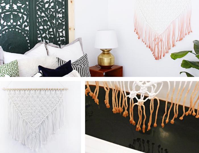 comment tisser le fil macramé avec la technique noeud plat ou noeud d'alouette, exemple déco chambre bohème avec tête de lit en fer et déco murale en macramé