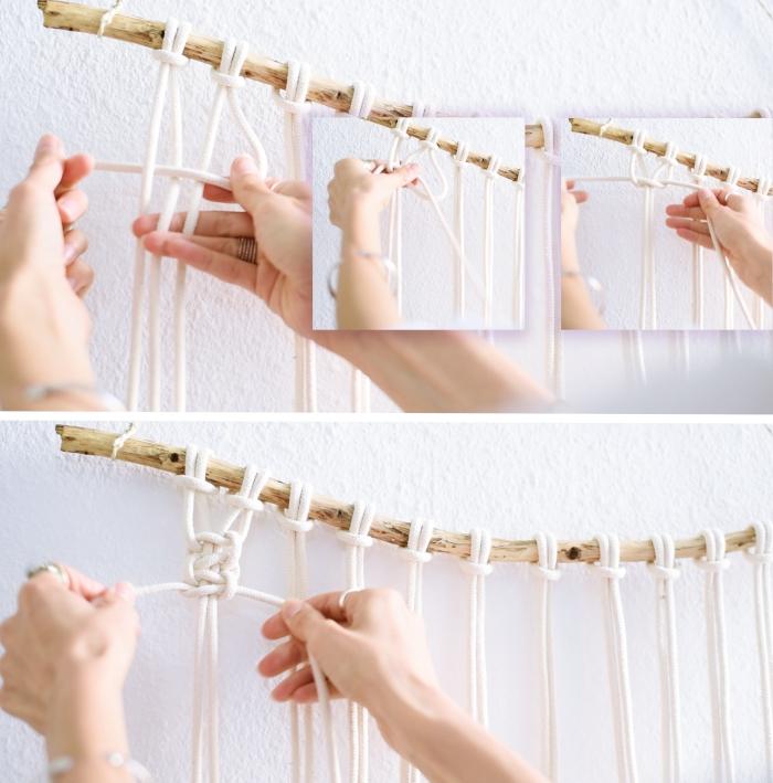 tutoriel pour apprendre le macramé étape par étape, comment faire un noeud plat sur une suspension macramé DIY