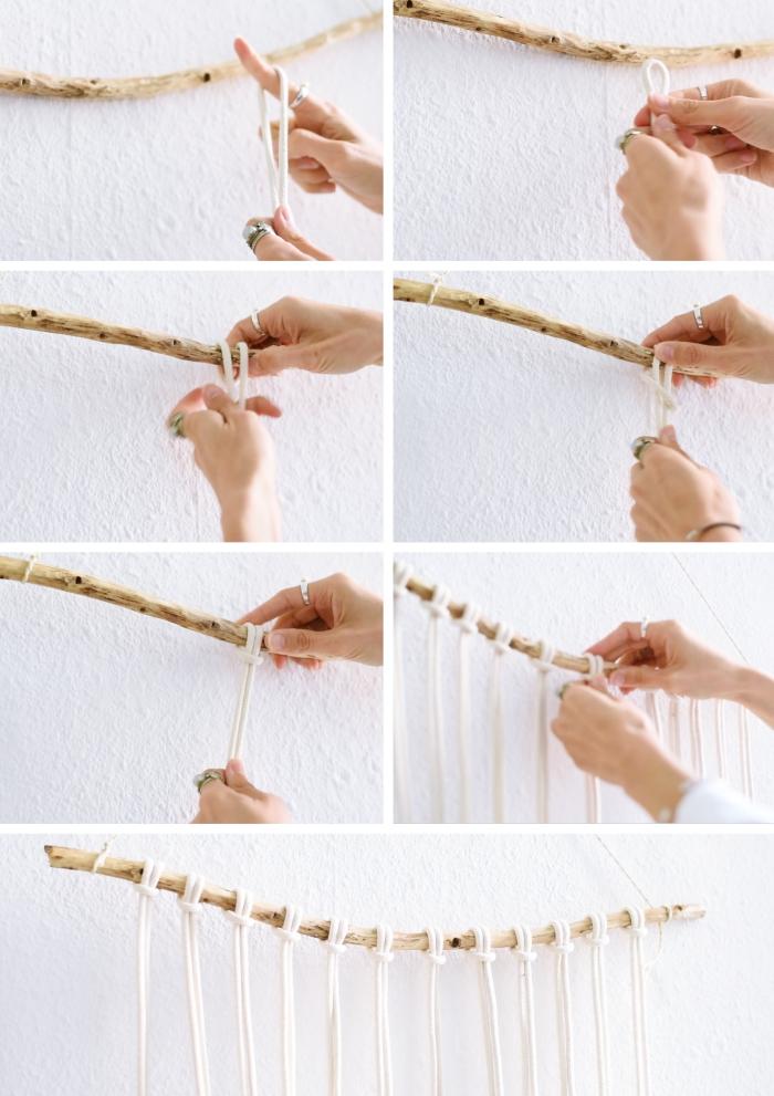 comment faire un noeud macramé, exemple de suspension murale réalisée avec bâton de bois et noeuds d'alouette macramé