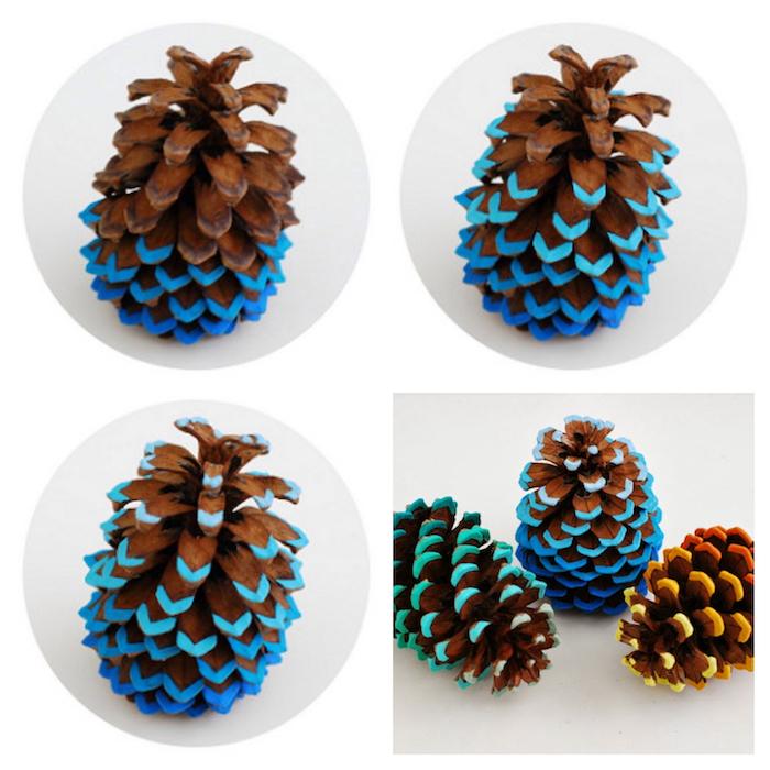 pommes de pin ombré décoratives en couleur jaune, verte et bleue, activité manuelle recyclage land art