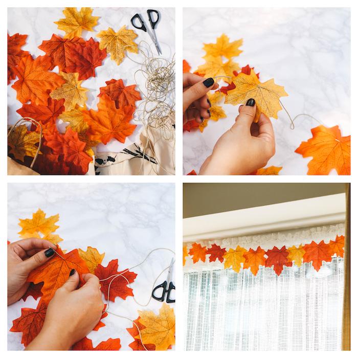 guirlande en feuilles mortes enfilées sur un bout de ficelle pour decorer une fenetre, bricolage automne facile et rapide