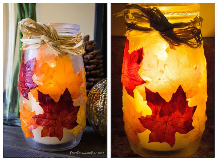 photophore automnale en bocal en verre décoré de feuilles mortes avec une bougie à l intérieur, activités manuelles automne