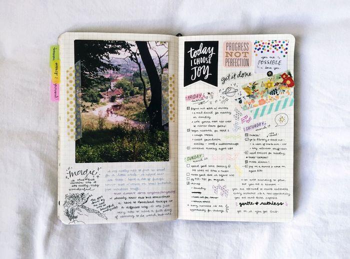 comment personnaliser son agenda, semainier avec photos, stickers, petits dessins et bandes de washi tape colorées