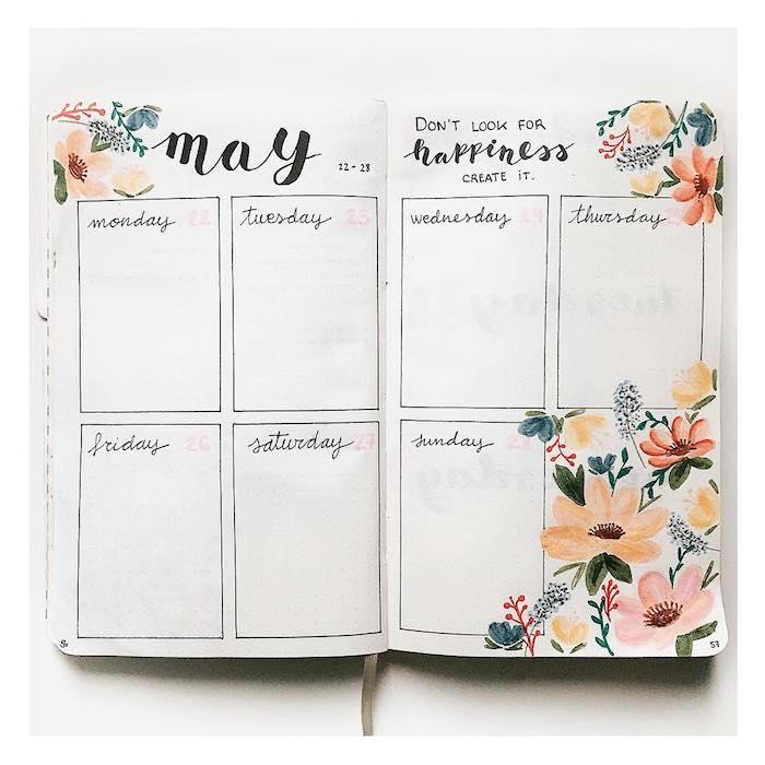 idée de semainier avec des cases pour organiser sa semaine et des dessins de fleurs en bordure, exemple original carnet personnalisé