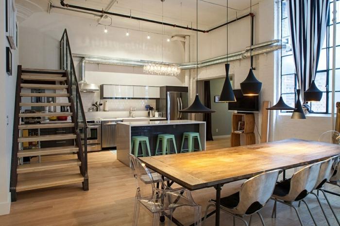 aménagement cuisine americaine, grande table en bois, suspensions tom dixon, tuauterie industrielle, tabourets de bar vert menthe
