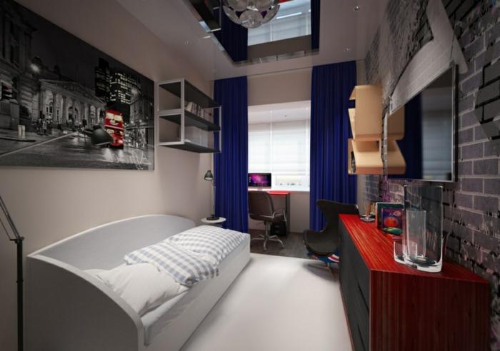 chambre garcon ado, poster mural vue de la cité, lit blanc, coin bureau derrière un rideau bleu