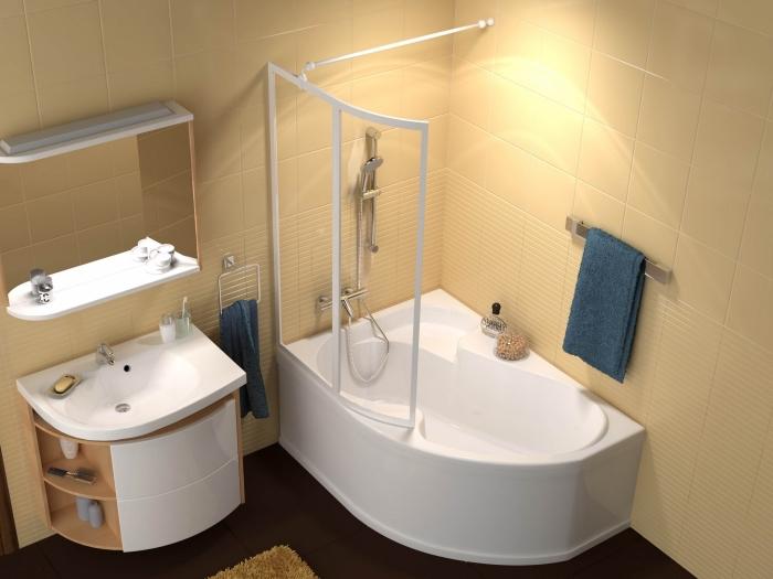 astuces rangement gain place avec étagère miroir et meuble sous vasque à rangement ouvert, exemple de petite baignoire d'angle
