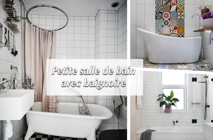 modele de salle de bain d'espace limité avec petite baignoire, idée comment décorer une salle de bain avec baignoire îlot