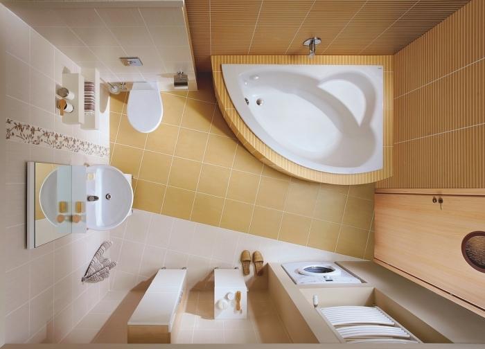 comment aménager une salle de bain 3m2 avec petite baignoire d'angle, rangement accessoire de bain au bord de la baignoire