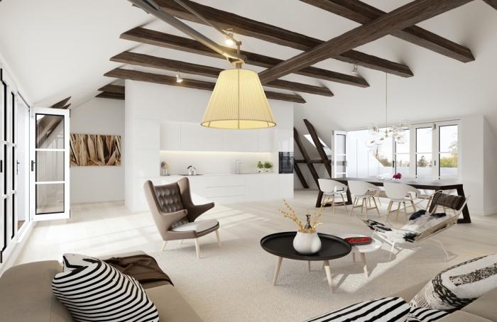 déco de style scandinave dans un studio spacieux aux murs et plafond blanc aménagé avec meubles en bois et cuir, modèle de plafond contemporain blanc avec poutres marron