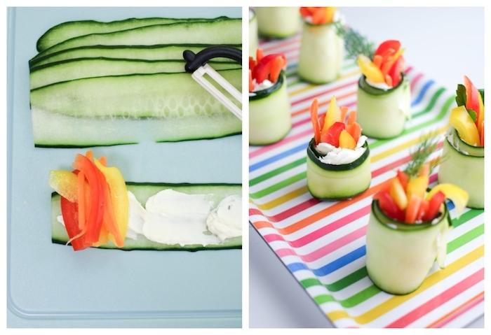 idée de rouleau au fromage ricotta, poivrons et carottes, amuse bouche froid facile a faire pour ses invités d une soirée, repas à partager