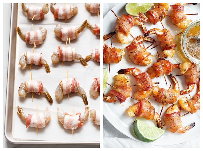 idee apero dinatoire de type amuse bouche crevettes enveloppées de lard avec des cure dents et sauce à la base de moutarde