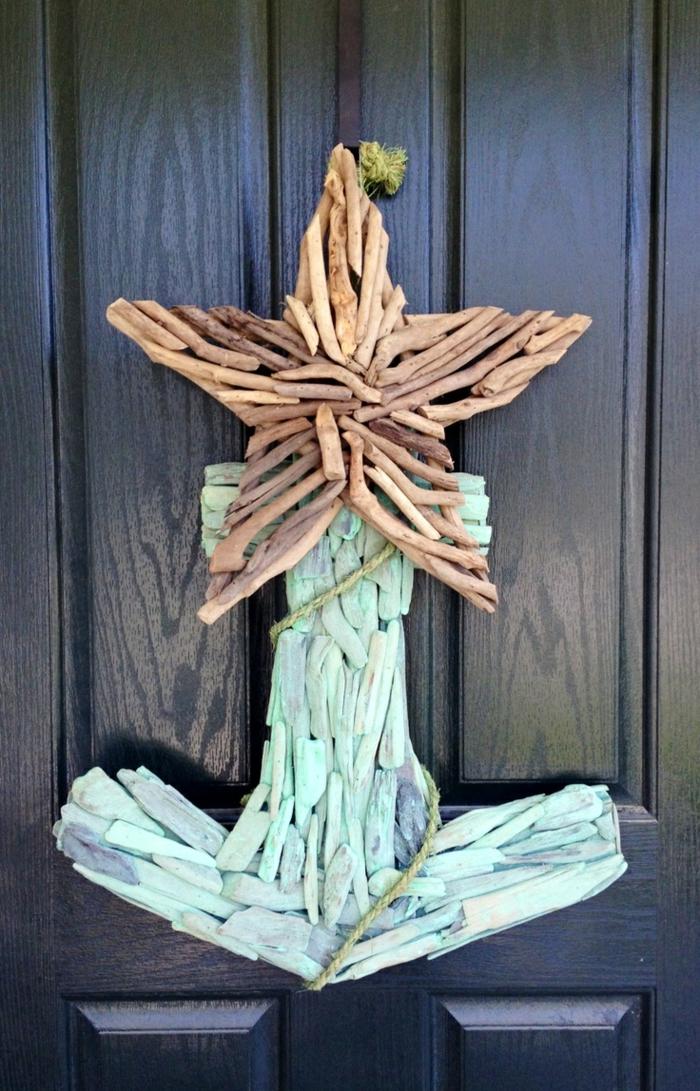 ancre de mer bleue avec étoile créée avec bois flotté, déco de porte d'entrée