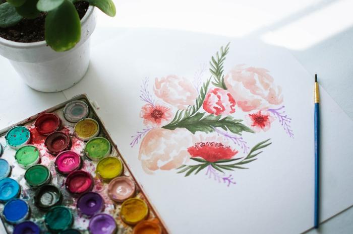 jolie composition florale que vous pouvez réaliser sur une carte personnalisée