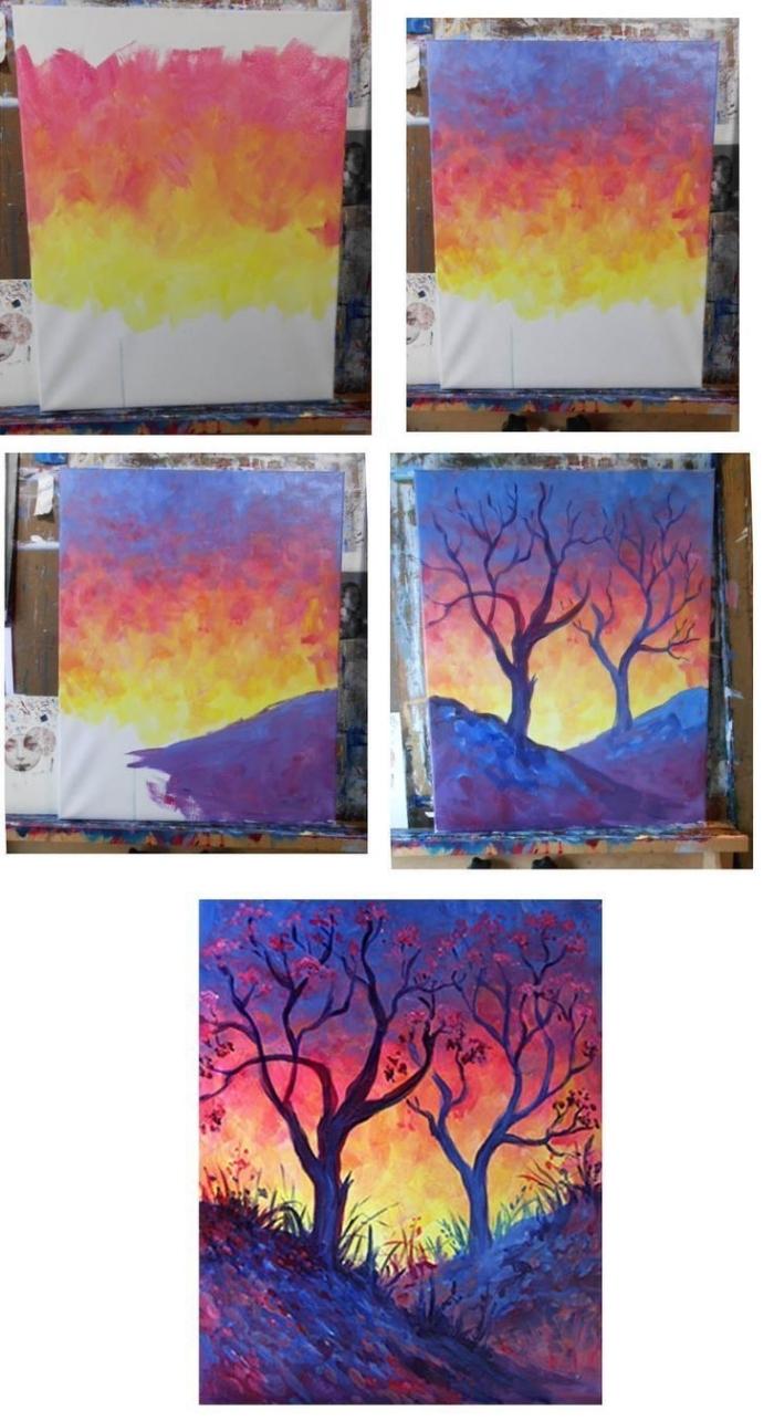 paysage aquarelle naturel représentant un arbre et un joli ciel au coucher de soleil