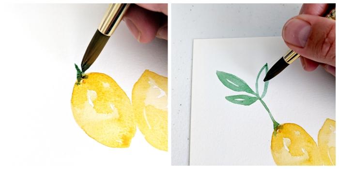 tuto aquarelle facile pour réaliser une branche de citron à quelques coups de pinceau
