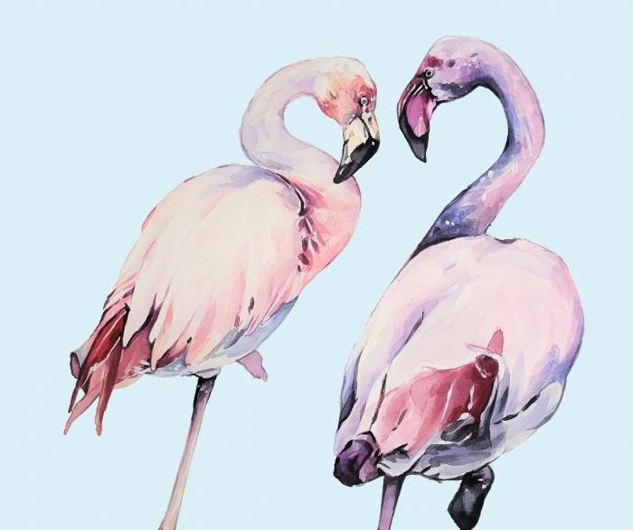 dessin aquarelle de deux flamants rose sur un fond bleu pastel, technique de peinture à l'aquarelle pour mélanger les couleurs et créer des nuances douces du rose et violet