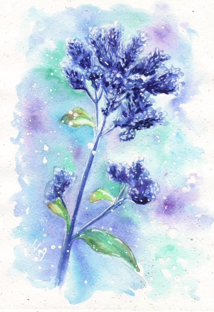 peinture aquarelle florale aux nuances de bleu, vert et violet, jolie fusion des couleurs aquarelles avec des espaces vides blancs
