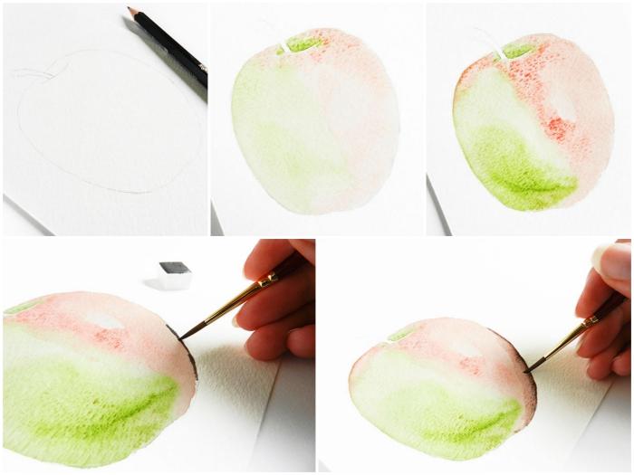 technique simple pour réaliser une pomme à l'aquarelle