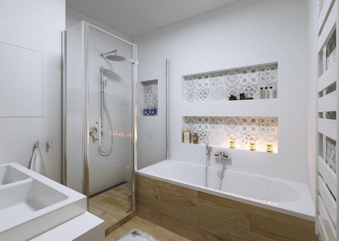 modèle de salle de bain douche et baignoire aux murs blancs avec carrelage design bois, astuce rangement gain place avec niches murales