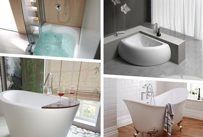 modèle de baignoire à taille et forme différentes pour aménager une petite salle de bain, modèle baignoire d'angle