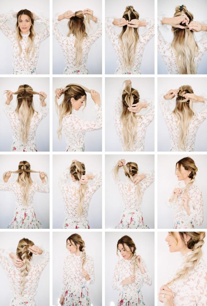 tutoriel pour faire une coiffure aux cheveux ramassés en tresse de côté, exemple de balayage blond sur cheveux châtain foncé