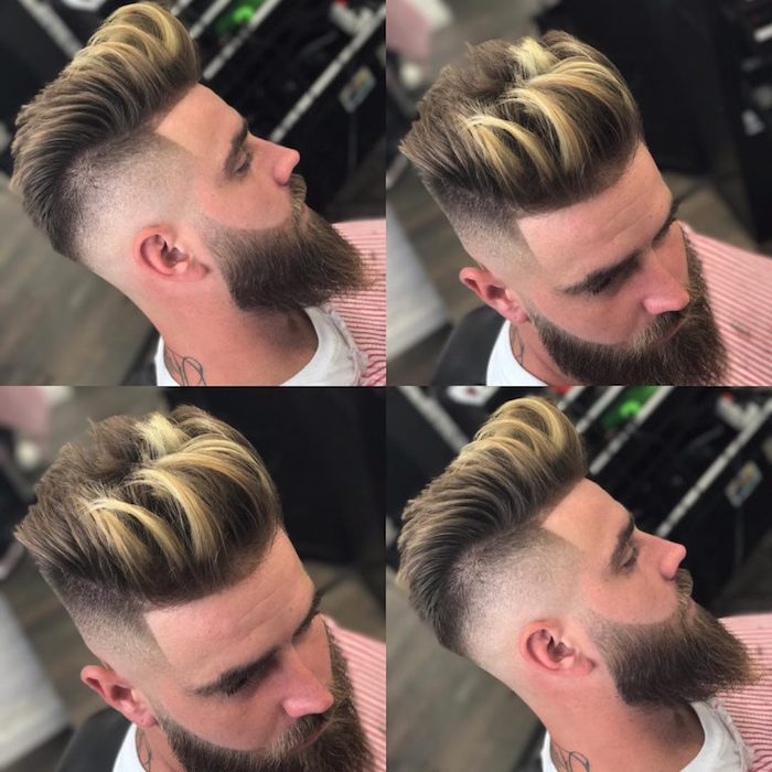 coupe homme tendance style pompadour avec coté court en fondu et meche blonde sur cheveux chatain