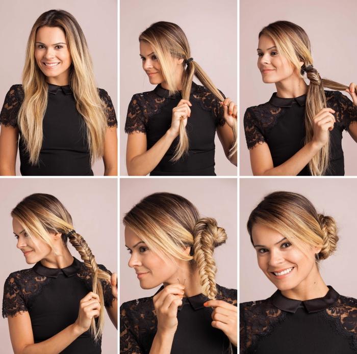comment réaliser une coiffure en chignon bas tressé, exemple de tresse en épi et chignon bas avec mèches devant