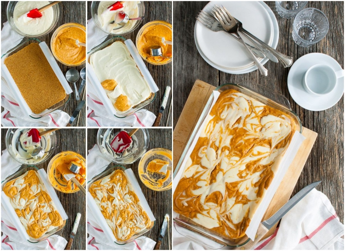 tuto recette pour préparer un gateau a la citrouille marbré facile façon cheesecake