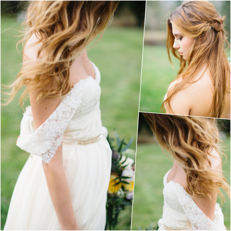 Quelle coiffure mariage bohème, la meilleure idée pour le jour j de coiffure simple et chic et robe de mariée blanche dentelle bustier avec épaules dénudés