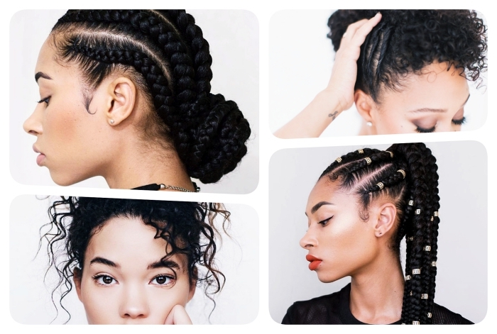 exemple de coiffure pour cheveux court bouclé ou longs frisés, coupe afro cheveux longs tressés en dreadlock
