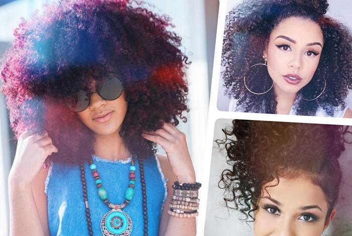 cheveux frisés femme, idée coiffure de cheveux afro de style blow out, modèle de coiffure braid out sur cheveux longs