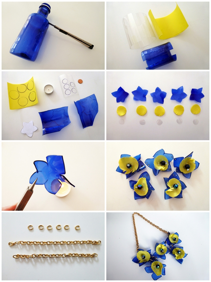 joli collier chaîne dorée avec des fleurs en plastique, idée originale pour recycler ses bouteilles en verre en bijoux originaux
