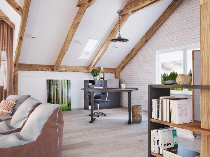 modèle de salon moderne et chaleureux aux murs blancs avec poutres bois décoratives, meubles noirs style moderne