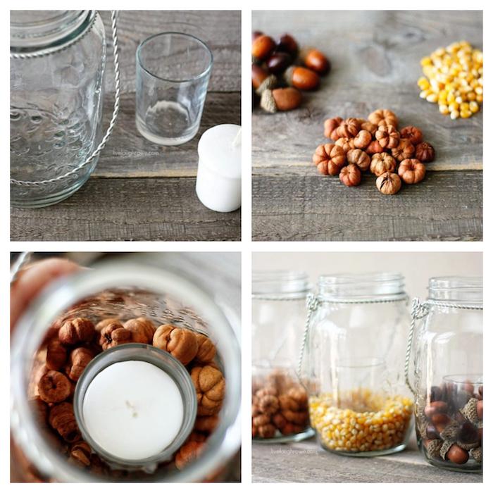 bocal en verre simple rempli de glands, mini citrouilles et graines de mais avec une bougie simple a l inteiruer