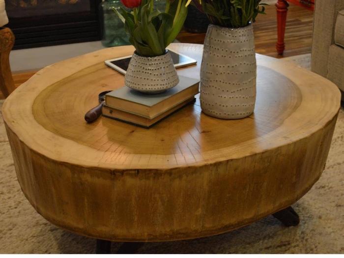 table basse en gros rondin de bois épais pour salon à la décoration rustique champetre