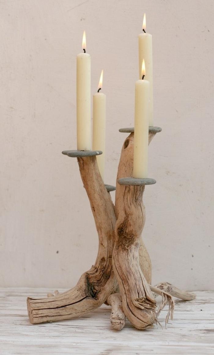 diy bois flotté, bougeoir pour quatre bougies, bougeoir original avec trois bras