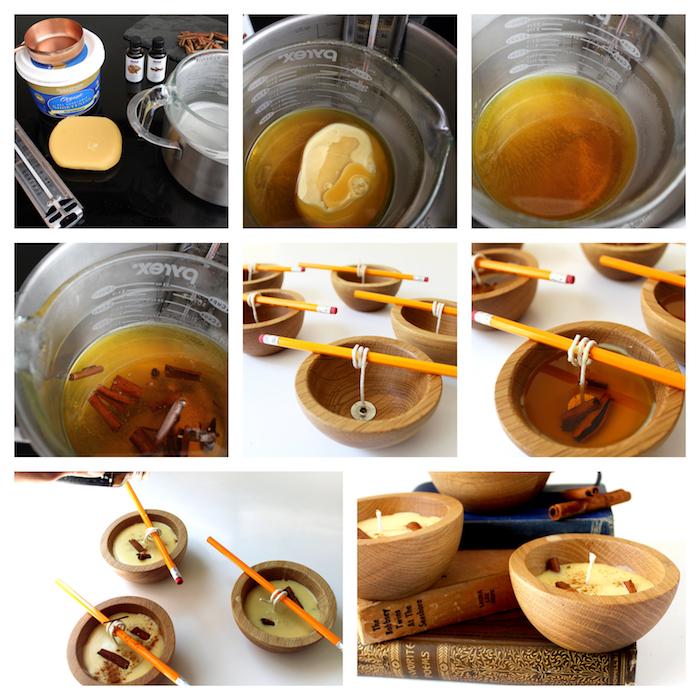 comment faire des bougies dans une coupelle bois avec de la cire d abeille et des batons de cannelle, bricolage automne parfums d automne
