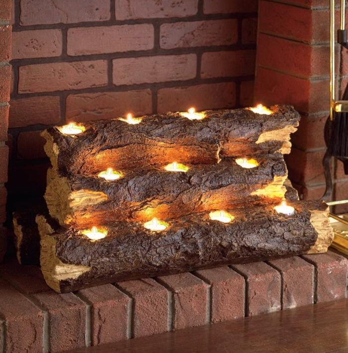 buches décoratives avec des lampes led bougies, décoration de fausse cheminée