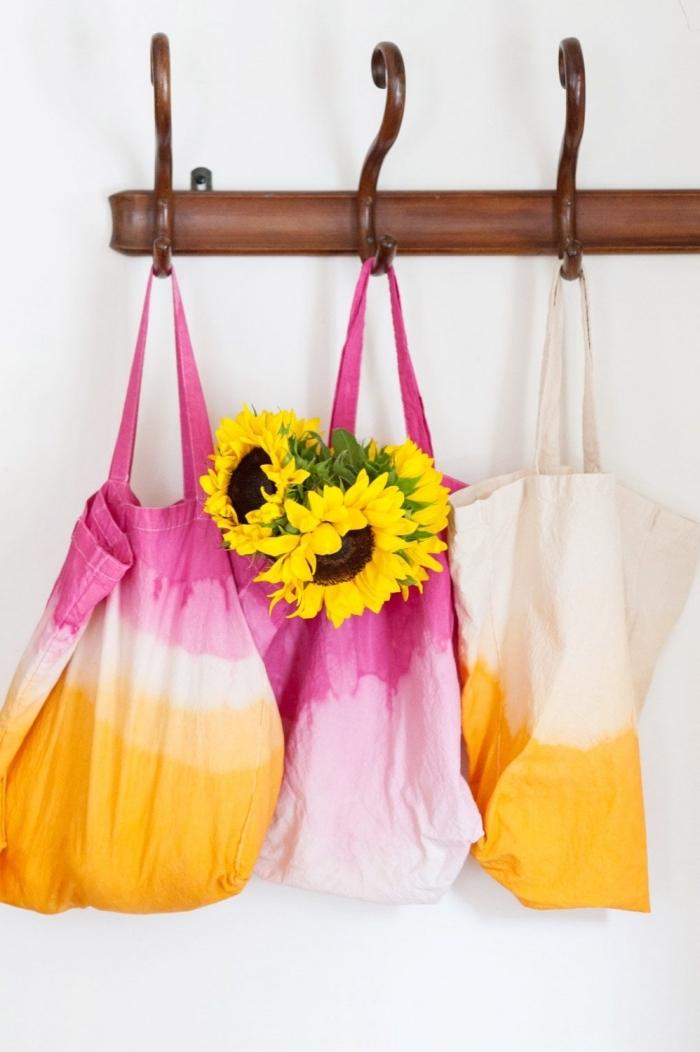 modèle de tote bag personnalisé avec peinture pour textile à design ombré, exemple de sac cabas DIY en rose et orange