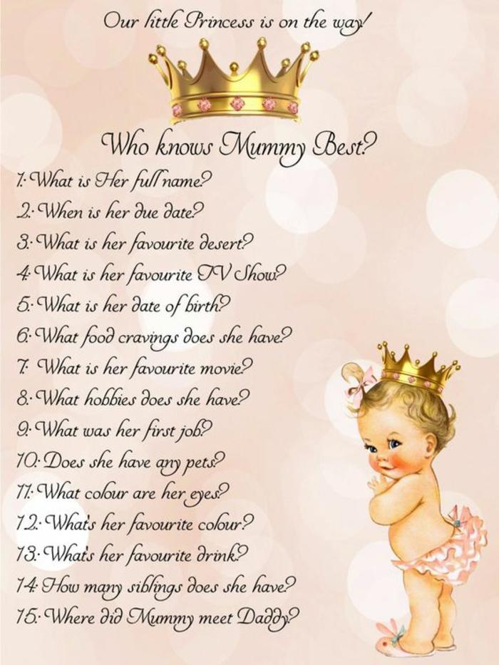 box femme enceinte, carte de vœux en couleur pêche, couronne de princesse en haut de la carte, bébé fillette qui pose des questions a propos de sa mère