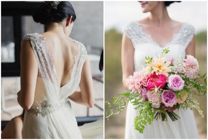 une robe de mariée dos nus romantique en matières légères et fluides aux bretelles transparentes ornées de fil brodé