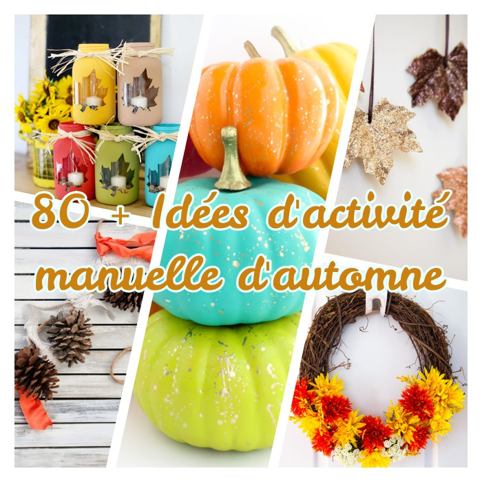 quelle activité manuelle d'automne avec citrouilles, feuilles mortes, pommes de pin, bocaux en verre et brindilles