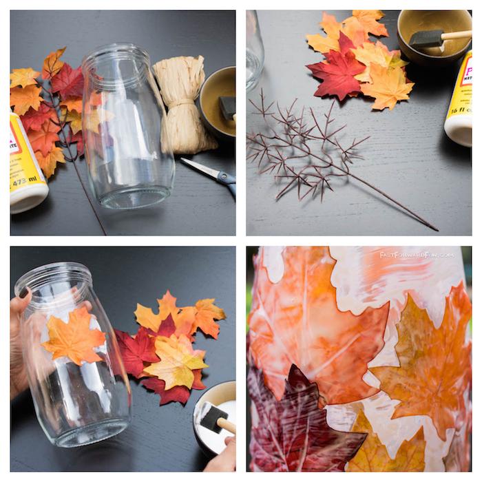 idée comment réaliser un bricolage automne découpage sur bocal en verre décoré de feuilles mortes jaunes, oranges et rouges