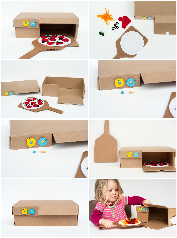 activité manuelle primaire pour s'amuser avec les enfants, four à pizza en boîte à chaussure pour jouer à faire-semblant