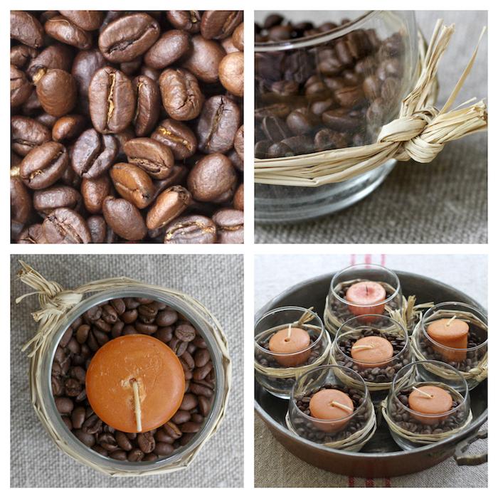 bougeoir en verre rempli de graines de café et bougie à l intérieur, plusieurs bougeoirs dans un corbeille, centre de table automne